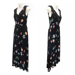 Y2k Semi-Sheer Black Floral Rayon Dress, Small
